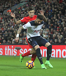 Philippe Coutinho of Liverpool (L) and Kyle Walker of Tottenham Hotspur in action - Mandatory by-line: Jack Phillips/JMP - 11/02/2017 - FOOTBALL - Anfield - Liverpool, England - Liverpool v Tottenham Hotspur - Premier League