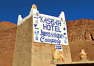Kasbah Hotel sign, Ziz Gorge, Morocco .<br /> <br /> Visit our MOROCCO HISTORIC PLAXES PHOTO COLLECTIONS for more   photos  to download or buy as prints https://funkystock.photoshelter.com/gallery-collection/Morocco-Pictures-Photos-and-Images/C0000ds6t1_cvhPo
