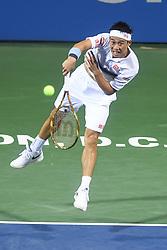 August 2, 2018 - Washington, D.C, U.S - KEI NISHIKORI hits a serve during his 3rd round match at the Citi Open at the Rock Creek Park Tennis Center in Washington, D.C. (Credit Image: © Kyle Gustafson via ZUMA Wire)