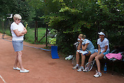 Moscow, Russia, 04/08/2004..Spartak Tennis Club is Russia's leading tennis school, discovering and coaching the new generation of Russian tennis stars. Dinara Safina being coached by Alexander Zlataoustov and watched by her mother Rosa, herself a coach.