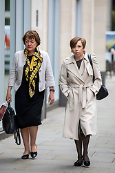 © Licensed to London News Pictures. 23/04/2018. London, UK. Fran Unsworth (R), Director of News and Current Affairs at the BBC, arrives at the Rolls Building of the High Court in London where Sir Cliff Richard is claiming damages against the BBC for loss of earnings. The 77-year-old singer is suing the corporation after his home in Sunningdale, Berkshire was raided following allegations of sexual assault made to Metropolitan Police. Photo credit: Rob Pinney/LNP