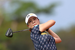 March 2, 2019 - Singapore - In Gee Chun of South Korea tees off on the 3rd hole during the third round of the Women's World Championship at the Tanjong Course, Sentosa Golf Club. (Credit Image: © Paul Miller/ZUMA Wire)