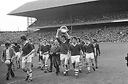 Winning Dublin team walking the pitch in celebration after their win at the All Ireland Senior Gaelic Football Championship Final Dublin V Galway at Croke Park on the 22nd September 1963. Dublin 1-9 Galway 0-10.