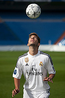 Brazil international soccer player Lucas Silva during his official presentation as a new Real Madrid player at the Santiago Bernabeu stadium in Madrid, Spain. May 26, 2013. (ALTERPHOTOS/Victor Blanco)