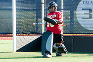 Pleasantville, New York - The Pace University goalie stops a shot during warmups before her team plays Assumption College in the first round of the Northeast-10 Conference field hockey playoff game on Oct. 31, 2017.