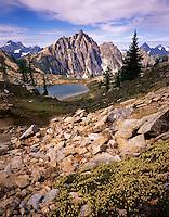 Mount Hardy and Upper Snowy lake, North Cascades Washington USA
