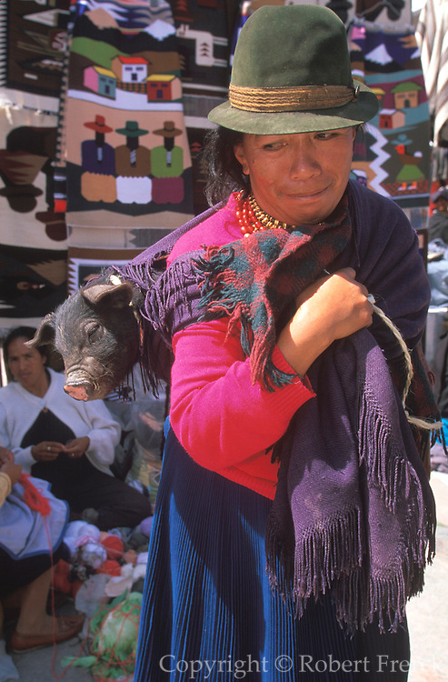 ECUADOR, MARKETS Otavalo, woman with pig in shawl