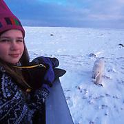 Sylvia Novotny photographs bears from a Tundra Buggy?vehicle. Churchill Manitoba. Canada.