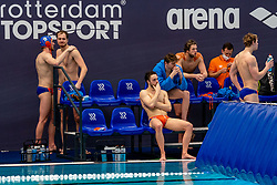 Jorn Muller, Jesse Nispeling, Pascal Janssen, Thomas Lucas of the Netherlands disappointed against Montenegro during the Olympic qualifying tournament. The Dutch water polo players are on the hunt for a starting ticket for the Olympic Games on February 19, 2021 in Rotterdam