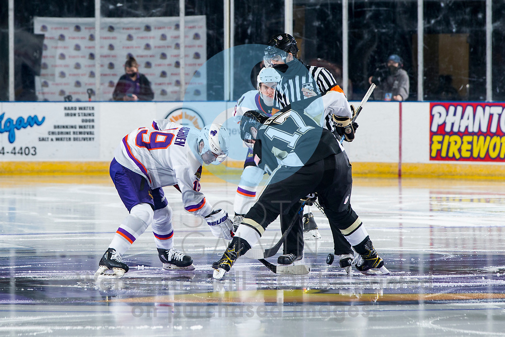 Youngstown Phantoms defeat the Muskegon Lumberjacks 4-3 in overtime at the Covelli Centre on December 5, 2020.<br /> <br /> Ben Schoen, forward, 19