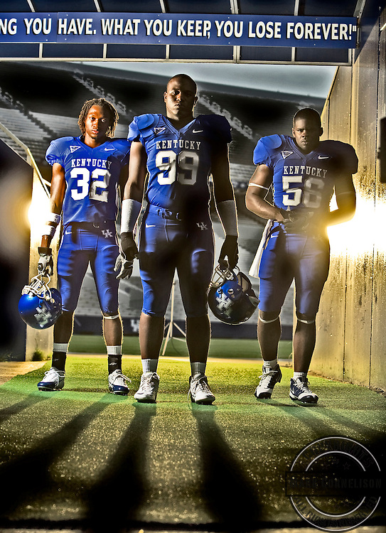 UK defensive standouts, Trevard Lindley, left, Jeremy Jarmon, center, and Braxton Kelly photographed   in  Lexington , Ky. on Thursday July 24, 2008.  Photo by Mark Cornelison   Staff 6222