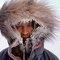 INTERNATIONAL ARCTIC PROJECT. Ulrik Vedel in -40 degree temperatures at Cape Arkticheskiy, Severnaya Zemlya archipeligo, Russia.