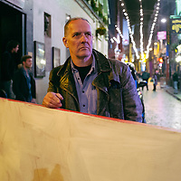 Bill Drummond stands on a manhole cover in Mathew Street. He contemplates a world without music where you know it was important but cannot remember why. Liverpool, UK. 28th April, 2013.