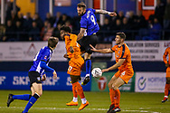 Sheffield Wednesday forward Steven Fletcher (9) heads the ball during the The FA Cup 3rd round replay match between Luton Town and Sheffield Wednesday at Kenilworth Road, Luton, England on 15 January 2019.