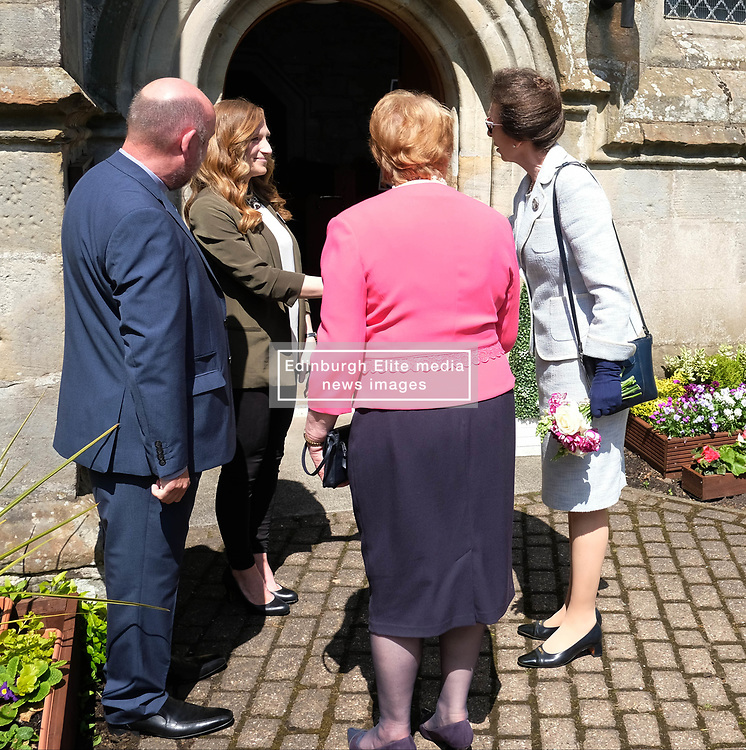 ** Exclusive **<br /> <br /> Princess Royal visits Kirk of Calder, Thursday 25th May 2017<br /> <br /> The Princess Royal visited Kirk of Calder in Mid Calder, Livingston today to accept a cheque on behalf of The Vine Trust.<br /> <br /> 3-year-old Fern Nelson presents the Princess Royal with a posy.<br /> <br /> £85,500 has been raised by members and organisations of the kirk to help fund an orphanage in Tanzania.<br /> <br /> There was an increased police presence due to the recent Manchester bombing.<br /> <br /> (c) Alex Todd | Edinburgh Elite media