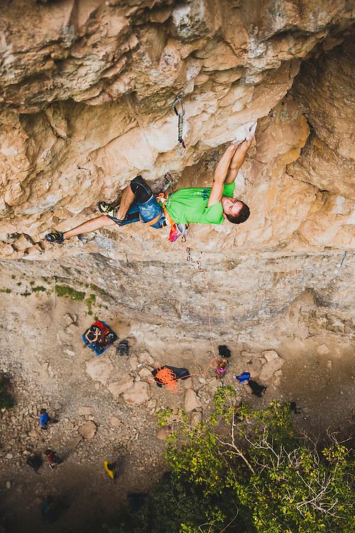 Matty Hong on his new route, La Cucaracha, 5.14c, Rifle Mountain Park, Colorado.