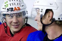 Jesse Niinimaki and Pasi Petrilainen of Finland at ice hockey practice of HDD Tilia Olimpija,  on October 16, 2008 in Arena Tivoli, Ljubljana, Slovenia.  (Photo by Vid Ponikvar / Sportal Images)