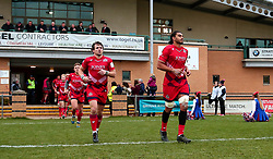 Chris Vui of Bristol Rugby and Rhodri Williams of Bristol Rugby run out to face Doncaster Knights - Mandatory by-line: Robbie Stephenson/JMP - 02/12/2017 - RUGBY - Castle Park - Doncaster, England - Doncaster Knights v Bristol Rugby - Greene King IPA Championship