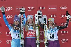 08.12.2012, Engiadina Rennstrecke, St. Moritz, SUI, FIS Ski Alpin Weltcup, Super G, Podium, Damen, im Bild Tina Maze (L. SLO), Lindsey Vonn (USA) und Julia Mancusa (R.USA) waehrend der Siegerehrungl on Podium // after ladies Super G of FIS ski alpine world cup at the Engiadina course, St. Moritz, Switzerland on 2012/12/08. EXPA Pictures © 2012, PhotoCredit: EXPA/ Freshfocus/ Andreas Meier..***** ATTENTION - for AUT, SLO, CRO, SRB, BIH only *****