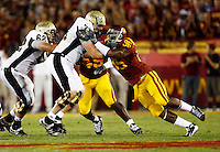 1 September 2007: DE #96 Lawrence Jackson on defense for USC Trojans college football team defeated the Idaho Vandals 38-10 at the Los Angeles Memorial Coliseum in CA.  NCAA Pac-10 #1 ranked team first game of the season.
