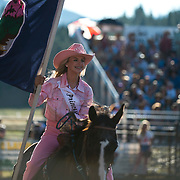 The Darby Rodeo Princess enters the arena at the Darby MT Elite Proffesionals Bull Riding Event July 7th 2017.  Photo by Josh Homer/Burning Ember Photography.  Photo credit must be given on all uses.