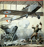 Airplane, artillery gun, and soldiers', 1917.    Edward Penfield (1866-1925) American artist and illustrator.  American military in World War I: Biplane Artillery Heavy Cavalry Soldier Cheering Tin Hat  Flying Aeronautics United States