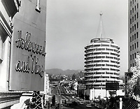 1963 Capitol Records Tower on Vine St. with Christmas tree of lights
