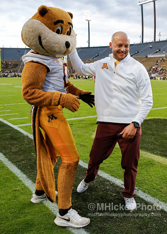 WEST LAFAYETTE, IN - SEPTEMBER 28: Head coach PJ Fleck of the Minnesota Golden Gophers is seen after the game against the Purdue Boilermakers at Ross-Ade Stadium on September 28, 2019 in West Lafayette, Indiana. (Photo by Michael Hickey/Getty Images) *** Local Caption *** PJ Fleck