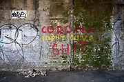 Profane virus graffiti Coronavirus - I dont give a shit as lockdown continues and people observe the stay at home message in the capital on 12th May 2020 in London, England, United Kingdom. Coronavirus or Covid-19 is a new respiratory illness that has not previously been seen in humans. While much or Europe has been placed into lockdown, the UK government has now announced a slight relaxation of the stringent rules as part of their long term strategy, and in particular social distancing.