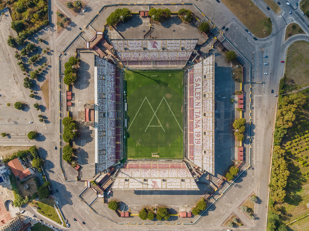 Salerno, Italy - 21 July 2021: Aerial view of Arechi football stadium and sport venue for Salernitana soccer team, Salerno, Italy.