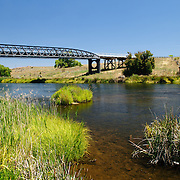 Dalgety Bridge, erected in 1888, crossing the Snowy River as it flows down from Lake Jindabyne