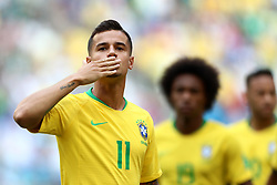 Brazil's Philippe Coutinho blows a kiss to the fans before kick off