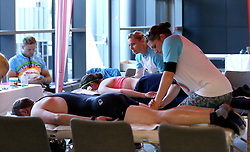 Cyclists receive massages after taking part in the 111 mile cycling challenge organised by the Community Foundations of Bristol and Gloucester Rugby - Mandatory by-line: Robbie Stephenson/JMP - 03/07/2016 - CYCLING - Ashton Gate - Bristol, United Kingdom - Break The Cycle Challenge 2016
