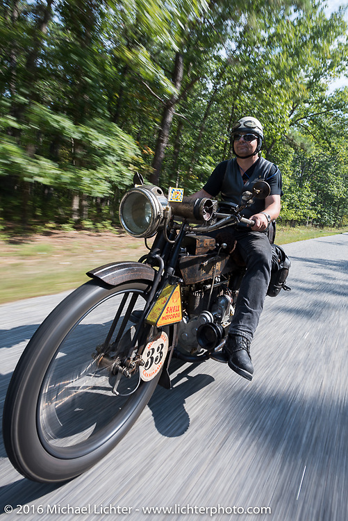 Andreas Kaindl of Germany on his 1913 Henderson during the Motorcycle Cannonball Race of the Century. Stage-1 from Atlantic City, NJ to York, PA. USA. Saturday September 10, 2016. Photography ©2016 Michael Lichter.