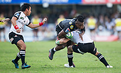 Durban. 100318. Durban. 100318.  S'Busiso Nkosi of the Cell C Sharks during the Super Rugby match between Cell C Sharks and Sunwolves at Jonsson Kings Park Stadium on March 10, 2018 in Durban, South Africa Picture Leon Lestrade/African News Agency/ ANA