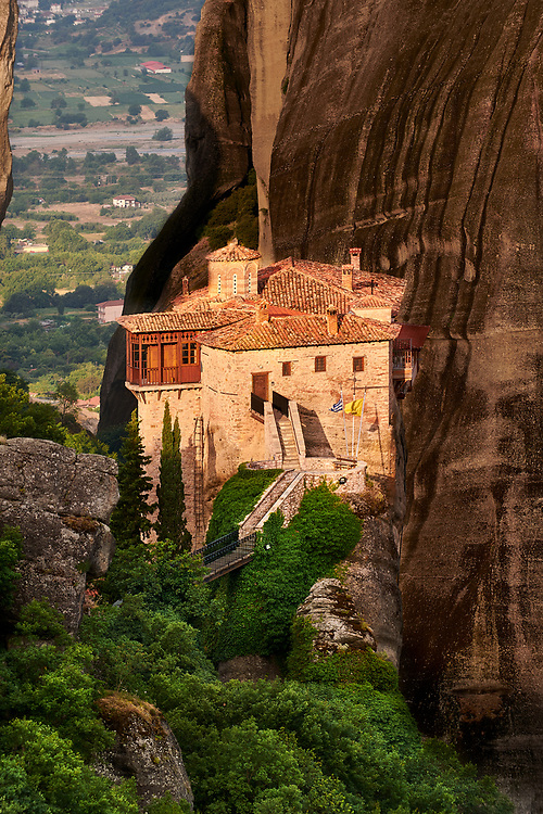 Medieval Meteora  Monastery of Roussanou on top of a rock pillar in the Meteora Mountains, Thessaly, Greece ..<br /> <br /> Visit our GREEK HISTORIC PLACES PHOTO COLLECTIONS for more photos to download or buy as wall art prints https://funkystock.photoshelter.com/gallery-collection/Pictures-Images-of-Greece-Photos-of-Greek-Historic-Landmark-Sites/C0000w6e8OkknEb8 <br /> .<br /> Visit our MEDIEVAL PHOTO COLLECTIONS for more   photos  to download or buy as prints https://funkystock.photoshelter.com/gallery-collection/Medieval-Middle-Ages-Historic-Places-Arcaeological-Sites-Pictures-Images-of/C0000B5ZA54_WD0s