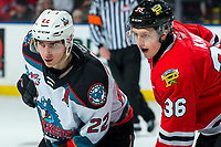 KELOWNA, BC - FEBRUARY 7:  Dillon Hamaliuk #22 of the Kelowna Rockets lines up with Simon Knak #36 of the Portland Winterhawks for the face-off at Prospera Place on February 7, 2020 in Kelowna, Canada. (Photo by Marissa Baecker/Shoot the Breeze)