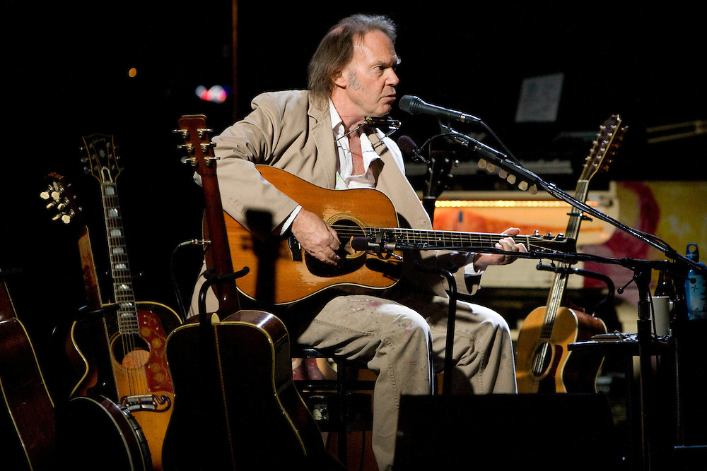 Neil Young performs on tour while promoting his new album Chrome Dreams II at the United Palace Theatre.
