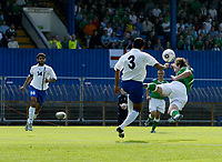 Photo: Andrew Unwin.<br />Northern Ireland v Azerbaijan. FIFA World Cup Qualifying match. 03/09/2005.<br />A header from Northern Ireland's James Quinn (R) goes wide of the goal.