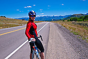 Cyclist on the San Juan Skyway (Highway 62)at Dallas Divide, Uncompahgre National Forest, Colorado
