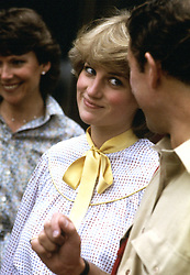 LADY DIANA SPENCER WITH HER FUTURE HUSBAND CHARLES, THE PRINCE OF WALES DURING A VISIT TO THE CHESHIRE REGIMENT AT TIDWORTH.