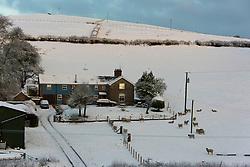 © Licensed to London News Pictures. 29/12/2020. Llanfihangel Nant Melan, Powys, Wales, UK. A winter landscape near Llanfihangel Nant Melan in Powys, Wales, UK. Photo credit: Graham M. Lawrence/LNP