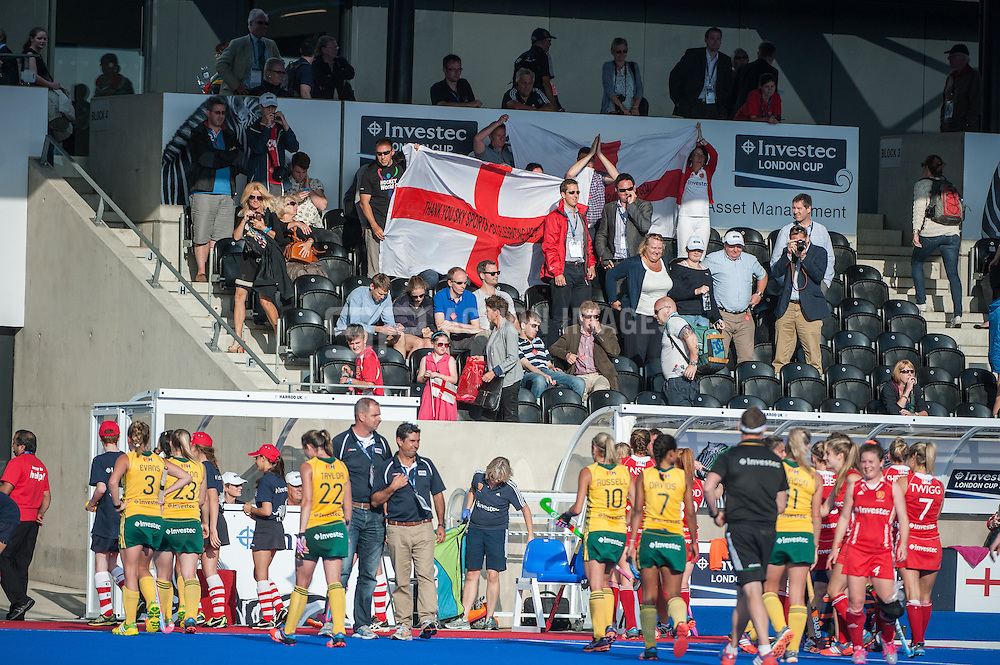 England supporters celebrate the teams win against South Africa during the Final of the Investec London Cup. Lee Valley Hockey & Tennis Centre, London, UK on 13 July 2014. Photo: Simon Parker
