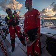 Leg 3, Cape Town to Melbourne, day 15, Xabi Fernandez and Willy ALtadill on board MAPFRE. Photo by Jen Edney/Volvo Ocean Race. 24 December, 2017.