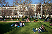 Gordon Square in Bloomsbury, London. It was developed by Thomas Cubitt in the 1820s, as one of a pair with Tavistock Square, which is a block away and has the same dimensions. As with most London squares the central garden was originally for the private use of the residents of the surrounding houses, but it now belongs to the University of London and is open to the public.
