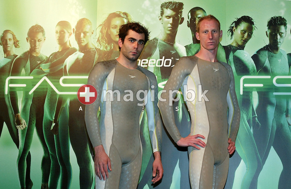 Remo LUETOLF (L) and Karel NOVY (R) of Switzerland pose in the new Speedo FASTSKIN FSII (FS2) swim suit on Tuesday, March 9, 2004, at the launch party in London. (Photo by Patrick B. Kraemer/MAGICPBK)