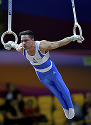 DOHA, Nov. 3, 2018  Eleftherios Petrounias of Greece competes during the men's rings final at the 2018 FIG Artistic Gymnastics World Championships in Doha, capital of Qatar, Nov. 2, 2018. Petrounias won the gold with 15.366 points. (Credit Image: © Yangyuanyong/Xinhua via ZUMA Wire)
