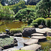 Asia, Japan, Tokyo. The Japanese Garden at the New Otani Hotel in Tokyo.