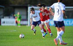 Carla Humphrey of Bristol City applies pressure on Lucy Quinn of Tottenham Hotspur Women- Mandatory by-line: Nizaam Jones/JMP - 27/10/2019 - FOOTBALL - Stoke Gifford Stadium - Bristol, England - Bristol City Women v Tottenham Hotspur Women - Barclays FA Women's Super League
