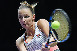 Oct. 26, 2017 - Singapore, Singapore - KAROLINA PLISKOVA of the Czech Republic hits a return during the match against Jelena Ostapenko of Latvia at the WTA Finals tennis tournament in Singapore. Ostapenko won 2:0.  (Credit Image: © Then Chih Wey/Xinhua via ZUMA Wire)